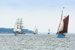 Parading sailing ships Hanse Sail Royalty Free Stock Photos