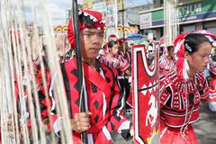 Parading tribal dancers Philippines Stock Image
