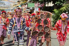 Parading tribal musicians Philippines Royalty Free Stock Images