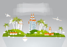 Paradisö, samling för stad för bakgrund för feriehotelllopp vit Arkivbilder