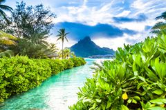 Paradis Bora Bora Island, franska Polynesien arkivbild