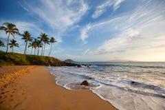 Paradis de plage de coucher du soleil Image stock