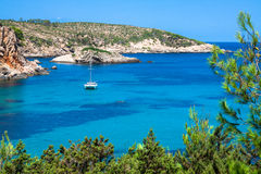 Paradis de plage de turquoise d'Ibiza Punta de Xarraca dans Isla baléar photos libres de droits