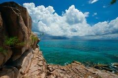 Paradis Seychellerna Arkivfoto