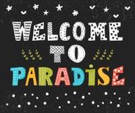 paradis som ska välkomnas gullig hälsning för kort Rolig vykort Royaltyfri Bild