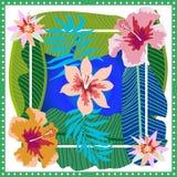 Paradis tropical d'été L'écharpe en soie carrée avec des feuilles et la floraison de banane fleurit sur le fond de gradient Image libre de droits
