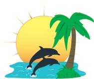 Paradis tropical, illustration de vecteur Photographie stock