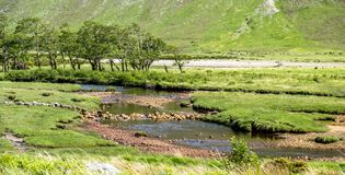 The paradisal landscape of Glen Etive with the mouth of River Etive , Scotland. Europe Stock Photos