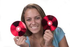 ParaDisc. Teen with CD series Stock Images