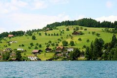 Paradise. A scenic place in the bank of Luzen, Switzerland Stock Photo
