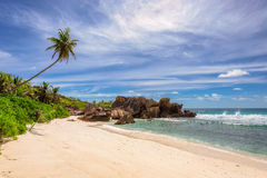Paradise Anse Cocos Beach on La Digue island, Seychelles Royalty Free Stock Image