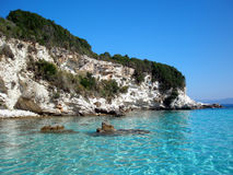 Paradise - Anti-Paxos, Greece. White rock formations and crystal clear water Stock Photography