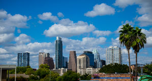 Paradise Austin Texas Skyline Sunny Day Blue Sky with Two Tropical Palm Trees Closer. Tropical Summer Days in Austin Texas along the colorado river landmark royalty free stock images