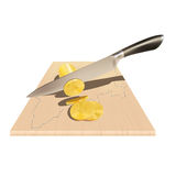 A knife cuts the coins on the board with a map, on white background. Vector Stock Photography