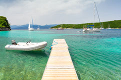 Paradise bay with azure water on Corfu island, Greece Stock Photography