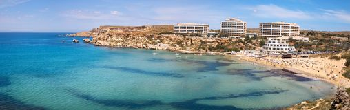 Paradise bay seascape panorama with azure water at Ghajn Tuffieh. A, Malta, EU Stock Photo