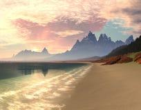 Paradise Bay Sunrise. Sunrise or sunset over idylic tropical paradise beach with waves gently lapping the shore Royalty Free Stock Image