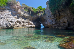 Paradise Beach. Beautiful Natural Pool in Sorrento, Bay of Naples stock photo