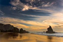 Paradise Beach. Adraga beach photographed at sunset Stock Photos