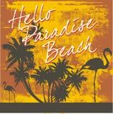 Paradise Beach. An illustrated signboard welcoming to the paradise beach vector illustration