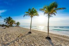 Paradise Beach also called Playa Paraiso at sunrise - beautiful and tropical caribbean coast of Tulum in Quintana Roo, Riviera stock photo