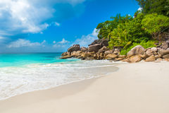 Paradise beach - Anse Georgette at Praslin, Seychelles Royalty Free Stock Photography