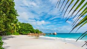 Anse Lazio on Praslin Island in Seychelles. Sandy beach Anse Lazio in Praslin Island on the Seychelles stock photos