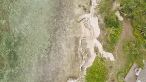 Paradise beach and beautiful pool. Philippines. Aerial view. stock footage