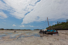 Paradise beach with boat coverup. In Lamu, Kenya - East Africa Royalty Free Stock Image