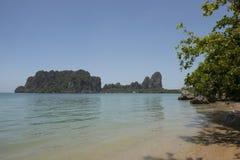 Paradise beach with clear water. Ton Sai, Thailand. Paradise beach with clear water, jungle and karst rocks in Ton Sai, Thailand Royalty Free Stock Photo