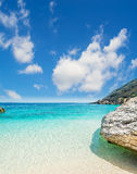 Paradise beach with clouds Royalty Free Stock Photography