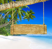 Paradise Beach Display with Wood Board Royalty Free Stock Image