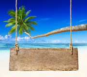 Paradise Beach Display with Wooden Board Royalty Free Stock Photography