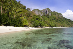 Paradise beach in El Nido. One of the most scenic area in southeast asia : El Nido in Palawan archipelago, Philippines. Paradise beach is the perfect desert stock image