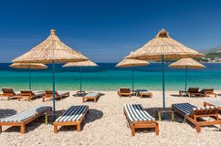 Paradise beach in Himare on albanian riviera in Albania stock photo