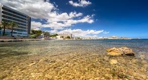 Paradise beach in Ibiza island with blue sky Royalty Free Stock Photos