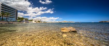 Paradise beach in Ibiza island with blue sky Royalty Free Stock Image