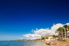 Paradise beach in Ibiza island with blue sky Stock Images