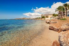 Paradise beach in Ibiza island with blue sky Stock Photos