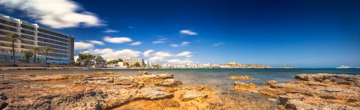 Paradise beach in Ibiza island with blue sky Royalty Free Stock Images