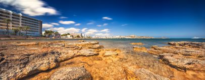 Paradise beach in Ibiza island with blue sky Stock Photo