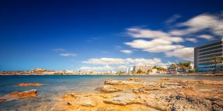 Paradise beach in Ibiza island with blue sky Royalty Free Stock Photo