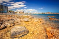 Paradise beach in Ibiza island with blue sky Royalty Free Stock Photo