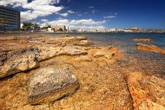 Paradise beach in Ibiza island with blue sky Stock Photo