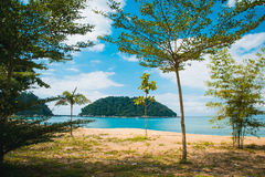 Paradise beach with island on background, Malaysia Royalty Free Stock Photos