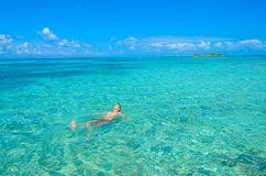 Paradise beach on island caye Carrie Bow Cay Field Station, Caribbean Sea, Belize. Tropical destination stock images