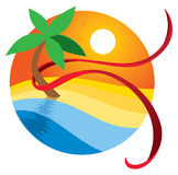 Paradise Beach Logo. The sun sets on a beach scene in this peaceful logo icon Royalty Free Stock Images