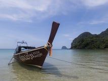 Paradise beach and long tail boat at Koh Mook Island, Thailand Stock Photography