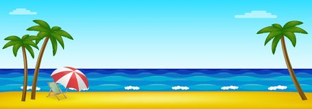 Paradise beach in the middle of the ocean with palm trees stock illustration