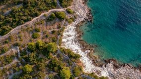 Paradise beach. Near Rogoznica from above stock photos